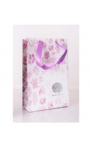 Darčeková kvetovaná taška so stuhou